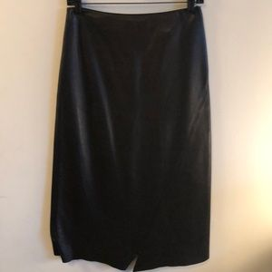 DKNY black soft glove leather Jagged hem skirt sz2
